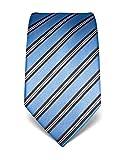 Vincenzo Boretti Herren Krawatte reine Seide gestreift edel Männer-Design gebunden zum Hemd mit Anzug für Business Hochzeit 8 cm schmal/breit hellblau