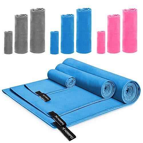 HOMPO Mikrofaser Handtuch Reisehandtuch Sporthandtuch - Schnelltrocknend Antibakteriell Badetuch Saugfähig Ultraleicht Microfaser Handtücher für Yoga, Sport, Fitness, Reise, Schwimmen 80x40cm(Blau)