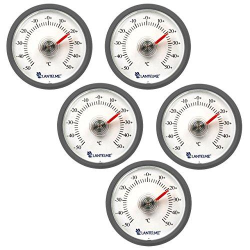 Lantelme 6288 Universal Thermometer 5 Stück Set - Mit Bimetall Federelement und Analoger Temperaturanzeige Kunststoff Farbe grau
