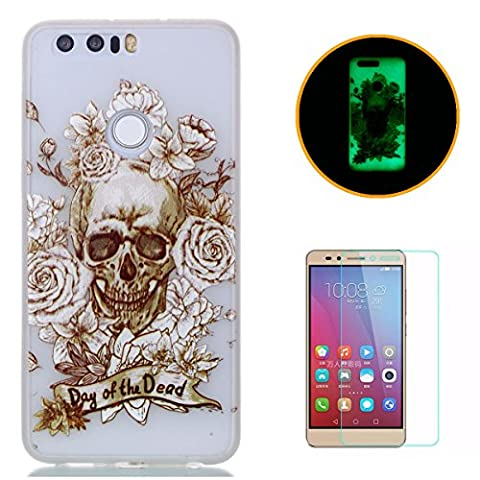 HUAWEI Honor 8 Silicone Gel Case [with Free Screen Protector],KaseHom Luminous Effect Noctilucent Green Glow in the Dark Cool Fashion Colourful Pattern Design Transparent Ultra Slim Thin Matte Clear Shockproof Soft Rubber Bumper TPU Protective Case Cover Skin Shell for HUAWEI Honor 8 - Gold Skull