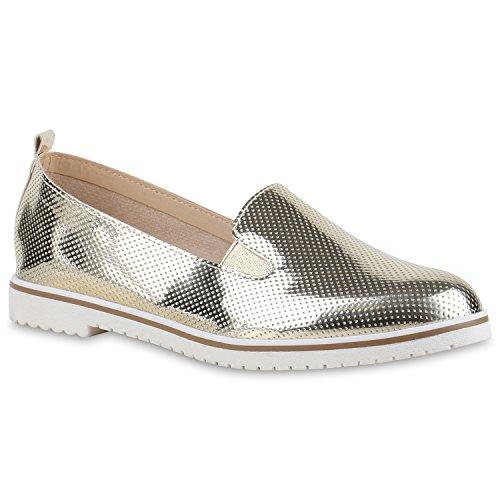 Damen Slipper Dandy Style Loafers Lack Profilsohle Schuhe Gold Lack Lochung