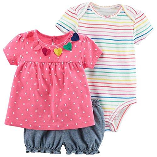 Baby Mädchen 3 Stück Bekleidungsset, Kurzarm-Kleid + Shorts + Body Set, 3-6 Monate