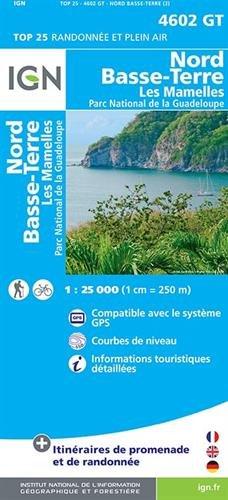 Nord Basse-Terre, Les Mamelles,  Parc National de la Guadeloupe 1 : 25 000
