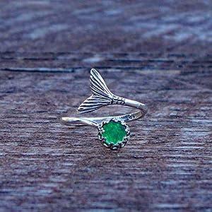 Bottled Up Designs Recycelte Vintage 1960 grüne Bierflasche Mermaid Ring aus Sterling Silber