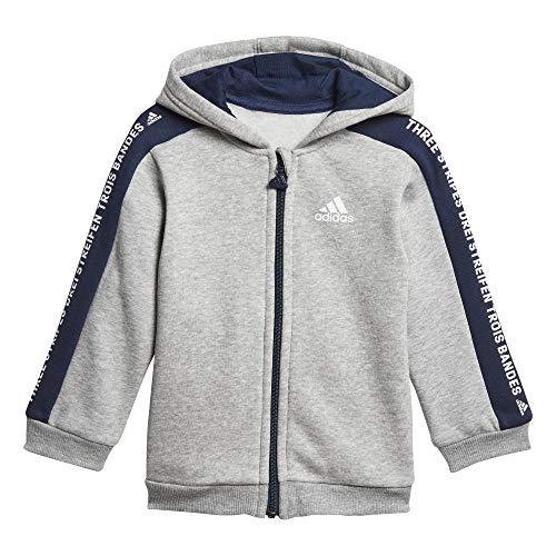 adidas Baby I 3 Stripes Full Zip Hooded Fleece Trainingsanzug, Medium Grey Heather/Collegiate Navy/White, 104