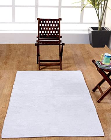 Homescapes waschbarer Chenille Teppich Vorleger 110 x 170 cm aus 100% reiner Baumwolle, Farbe: naturweiß/creme, pflegeleicht und
