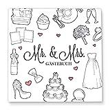 CUPCAKES & KISSES Gästebuch zur Hochzeit MR & MRS zum ausfüllen / neutral und individuell / Fotobuch: weiß / 144 Blanko Seiten / Quadratisch / Deko
