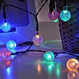 Solar Globe Fairy Lights 60 LED, Satu Brown 36ft 11M Patio String Lights, Outdoor Lighting for Festive Garden Decoration, Camping, Christmas Party, Yard Deck (Multi-Color)