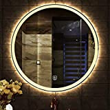 LED beleuchtet Badezimmer Spiegel runde Wohnzimmer Wand hd wasserdicht Silber smart LED Touch Schalter weiß/warmes licht 50 cm, 60 cm, 70cm, 80 cm