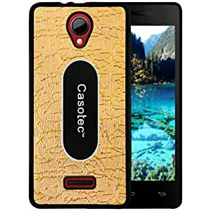 Casotec Metal Back TPU Back Case Cover for Micromax Canvas Fun A76 - Gold