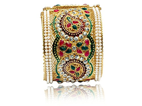 Mansiyaorange Traditional Fancy Designer Casual Party Wedding Wear Original One Gram Gold RED Green Hand Meena Work AD Polki Kundan Golden Openable Bangles Bracelet For Women(OPENABLE 2.6 INCH)  available at amazon for Rs.299