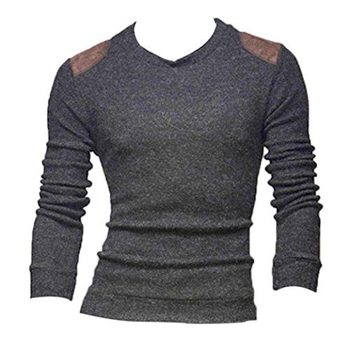 Sweatshirt Herren,Sannysis Männer Herbst Winter Slim Lange Ärmel Button Top Bluse (L, Dunkelgrau)