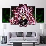 QJXX Impressions sur Toile 5 Panneaux Peinture Dragonball Z Goku Anime Toiles Nouveau Forme Art Mural Décoratif Photos Décor À La Maison,B,30×50Cm×2+30×70Cm×2+30×80Cm×1