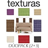 PROMOPACK 3+2 Dúo Fundas de Sofá Elástica Rustika BASIC HOME by TEXTURAS (BEIGE)