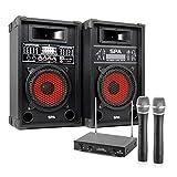Karaoke-Anlage STAR-8 600W PA Boxen & 2x Funk Mikrofon (100m Reichweite, USB-SD-Eingänge, 5-Band-Equalizer) schwarz
