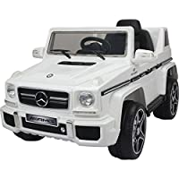 toyzz New 2017 Model Official AMERCEDES BENZ G63 AMG Concept Twin Powered Rechargeable Electric Ride on Kids Car With Parental Remote Control DOOR OPEN LED Light (White)