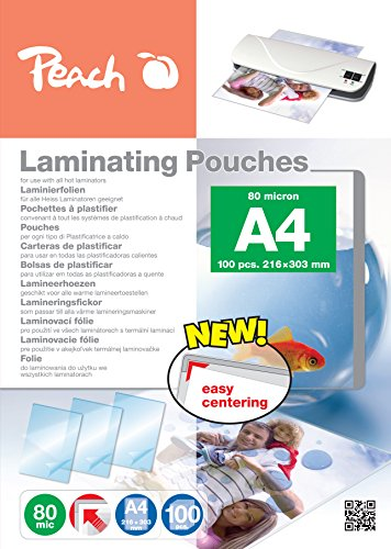 Peach PP580-02 - Pack de 100 láminas de plastificar, DIN A4, color transparente