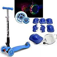 Fascol Monopattino pieghevole per bambini, con luci a LED, 3-17 nel ruote per bambini da 3 a 9 anni bambini, colore: Blu