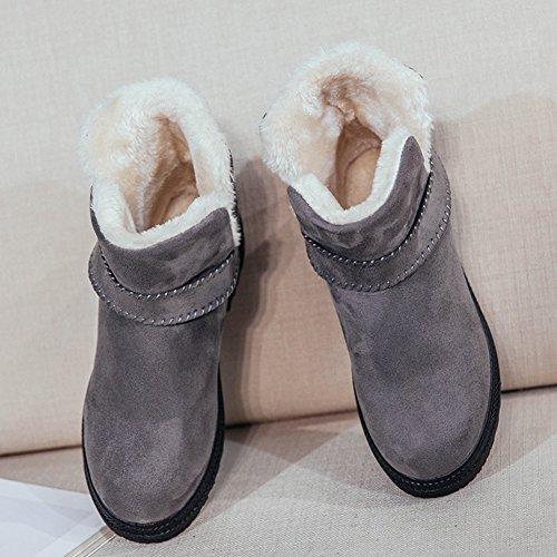 Fortuning's JDS Chaudes courtes bottes de fille de femmes d'hiver coton cheville plat Bottes de neige Gris