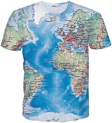 Pizoff Unisex Sommer Leicht Bunt Bequem Cool Digital Print Schmale Passform T Shirts mit Bunt 3D Muster Y1730-G7