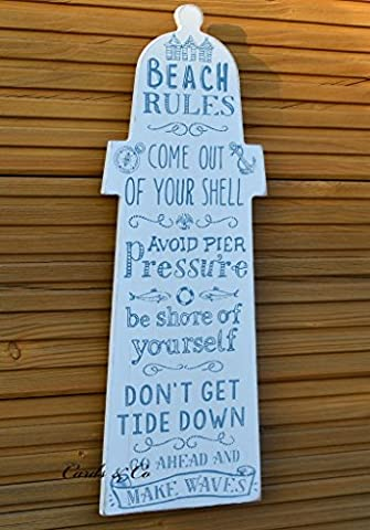 Wooden Beach Rules Sign Lighthouse Seaside Bathroom Wall Plaque Nautical Chic