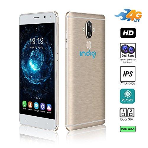 Indigi® GSM entsperrt 4G LTE 6.0in Smartphone (Android 7.0nougat oS + Dual Sim + Octa-Core @ 1,3GHz + Fingerabdruck Scanner + Bluetooth 4.0+ Google Play Store) (Gold) Entsperrt Handys Tracfone