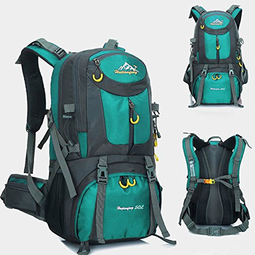 Mochila de 50 litros, ideal para deportes al aire libre, Senderismo, Trekking, Camping Travel, Escalada. Bolso impermeable del alpinismo, Daypacks que suben del recorrido, mochila, mochila. (Aguamarina)