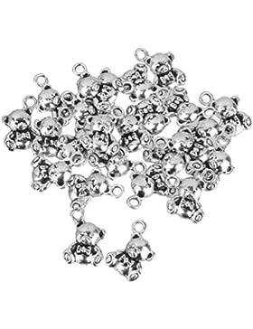 25 Stück Kleiner Bär Reize Charms Für Schmuck Handwerk DIY Silber