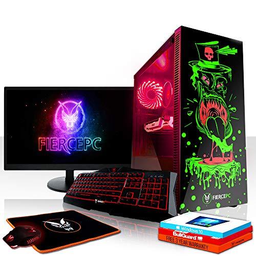 Fierce Reaper RGB Gaming PC Bundeln - Schnell 4.1GHz Hex-Core Intel Core i5 8500, 240GB SSD, 1TB HDD, 16GB 2666MHz, AMD Radeon RX 550 2GB, Windows 10, Tastatur (QWERTZ), Maus, 24-Zoll-Monitor 1007542
