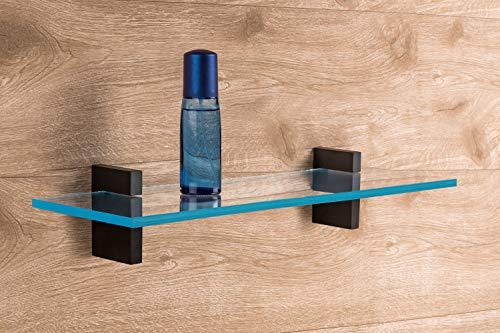Design Glas-Bodenträger Klemm-Tablarträger SEKONDA aus Metall   Regalhalter für Tablardicke 4-30 mm   Regalträger schwarz matt   2 Stück - Tablarträger inkl. Befestigungsmaterial