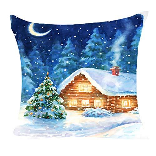 Weihnachten Baumwolle Kissenbezug Decor Kissenbezug Sofa Taille Throw Kissenbezug, Kissenbezug Frohe Weihnachten Dekorative Kissenhülle Winter Weiß Elk Strumpf Geschenk Muster (G)