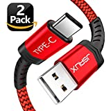 USB Type C Cable,JSAUX(2 Pack 6.6FT)USB A 2.0 To USB C Fast Charger Nylon Braided Cord For Samsung Galaxy S9 S8 Plus Note 8,Moto Z Z2,LG V30 V20 G5 G6,Google Pixel XL,Nintendo Switch And More(Red)