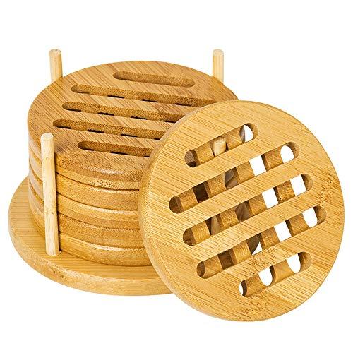Lontai Bambus-Untersetzer mit Halterung, 10,2 cm, hitzebeständige Pads für Glas-Tassen, 6 Stück
