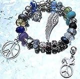 Beadarmband mit Charms Peace Buddha Flügel Anhänger Glücksbringer/ Schutzengel in Handarbeit gefertigt + Geschenkbox