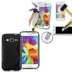 VCOMP Guscio di silicone gel motivo S S-Line colore nero per Samsung Galaxy Core Prime SM-G360F/ 4G SM-G361F + 1 Film protezione schermo Vetro Temperato