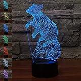 Illusione Ottica 3D Volpe Luce Notturna 7 Colori Mutevoli USB Potere Toccare Cambiare Arredamento Lampada LED Lampada da Tavolo Bambini Brithday Natale Regalo