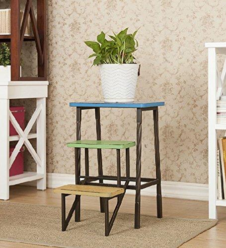 CAIJUN Plegable Silla De Escalera Mini Metal Madera Escalar Alto 3 Pasos Taburete Multicolor Aterrizaje Puesto De Flores (Color : Multicolor)