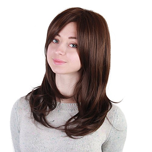 Luckhome Damen Perücke Lockige Frauen Lang Haar Wig Für Karneval Oder Cosplay Party, Fasching Kostüm Ombre Haarteil Mittellanges Körper-Mode-Natürliches Synthetisches Perücken-Haar (B)