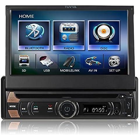 TUVVA KSD7813 Reproductor multimedia con capacitiva pantalla táctil de 1 DIN de 7 pulgadas, MHL Smartphone Conectividad, DVD / CD / USB / SD / AV IN / MP4 / MP3 Recibidor radio RDS Bluetooth Audio Streaming Manos libres Llamadas con control