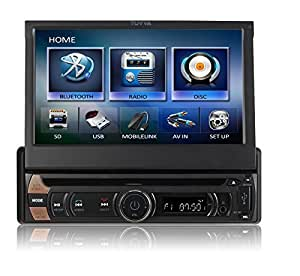 TUVVA KSD7813 Autoradio Moniceiver In-Dash 1-DIN 7-pollici DVD / CD / USB / SD / AV IN / MP4 / MP3 Player con Touchscreen capacitivo Motorizzato, connettività MHL smartphone, Radio RDS Bluetooth Audio Streaming Chiamate Senza Mani con Telecomando