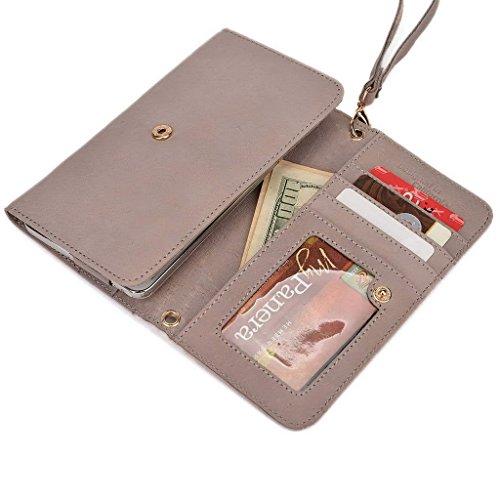 Kroo Téléphone portable en véritable cuir d'embrayage pour Gigabyte GSmart Akta A4 violet violet gris