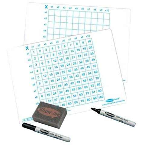 SG Education EP C/MSB Show-me Multiplication Grid 650 micron PVC Board with Mini Dry wipe Pen and Mini Foam Eraser, A4 Size (Pack of 35)