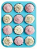 HelpCuisine muffinformen aus Silikon, antihaftbeschichtet, Cupcakes Backform mit 12 Muffinförmchen.
