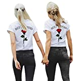 Damen Kurzarm, Frashing Frauen Beste Freund Buchstaben Rose Gedruckt T Shirts Casual Blusen Tops Best Friends Damen Rose T-Shirts Oberteil Mädchen Sommer Freund Shirt Kurzarm Tops (L, Rot)
