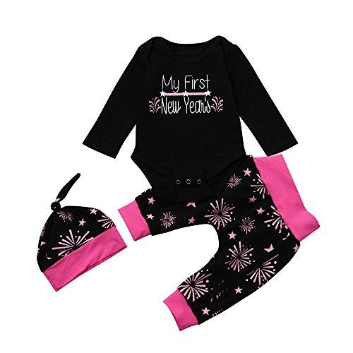 TPulling Baby Mädchen Junge Kleidung Brief Strampler Tops + Hosen Hut New Year Outfits Set