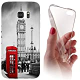 Samsung S5 / S5 Neo Softcase Hülle Cover Backkover Softcase TPU Hülle Slim Case für Samsung Galaxy S5 / S5 neo (1103 London Big Ben England Rot Grau)