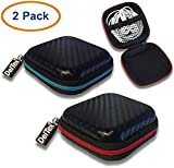 DelTex® 2 Pack Portable Hard Carrying Case Storage Bag For Earphones Earbuds iPod Shuffle MP3 Player
