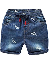a3343150e0 YASSON Baby Jungen Shorts Sommer Jeans Bedrucktes Kleine Auto Unisex  Kleinkinder Kurze Hose Streetwear Party Casual