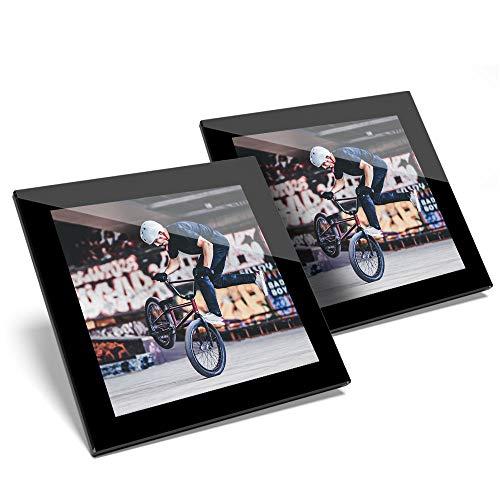 Impresionante juego de 2 posavasos de cristal para bicicleta BMX, estilo deportivo, calidad brillante, protección para cualquier tipo de mesa # 2352
