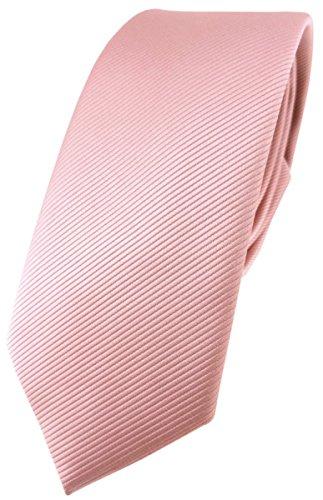 TigerTie schmale Designer Krawatte in rosa altrosa einfarbig Uni Rips gemustert
